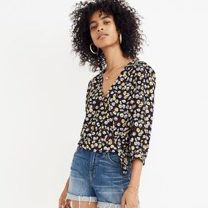 Madewell Wrap Top In French Floral 70's Inspired